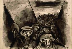 """""""Arbeitsantritt"""", (Bedrich Fritta, Theresienstadt 1943-44) Dauerleihgabe von Thomas Fritta-Haas an das Jüdische Museum Berlin, Foto: Jens Ziehe"""